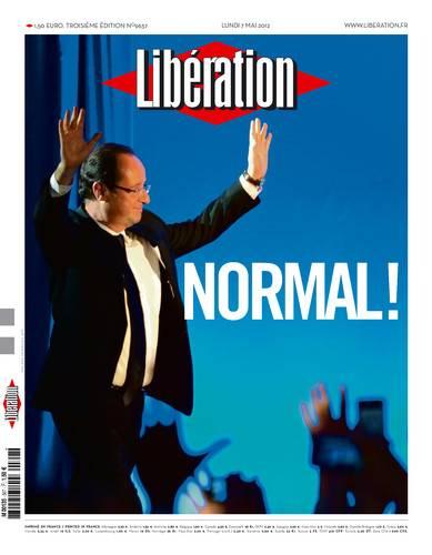 """Portada de Libération en la califica de """"normal"""" la victoria de Hollande"""