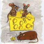 Dos ratones y un gran queso azul